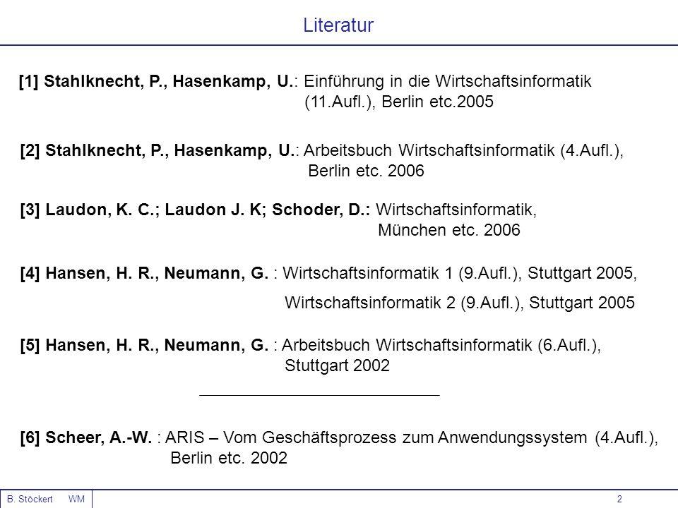 Literatur[1] Stahlknecht, P., Hasenkamp, U.: Einführung in die Wirtschaftsinformatik. (11.Aufl.), Berlin etc.2005.